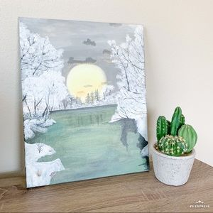 Hand Painted Snowy Morning Lake Sunrise Painting